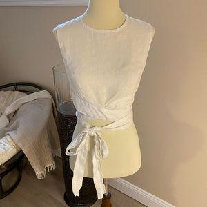 Free People White Linen Wrap top